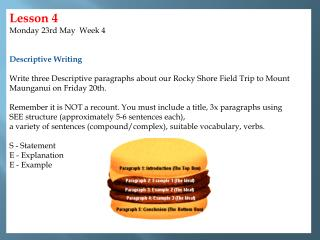 Lesson 4 Monday 23rd May  Week 4  Descriptive  Writing
