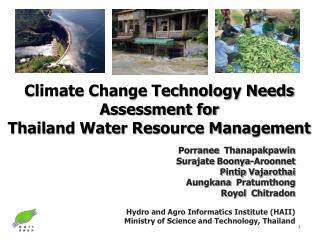 Climate Change Technology Needs Assessment for  Thailand Water Resource Management