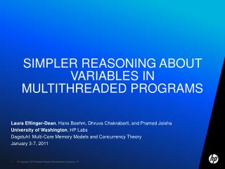Simpler Reasoning about Variables in Multithreaded Programs
