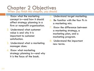 Chapter 2 Objectives