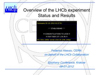 Federico Alessio, CERN on behalf of the LHCb  Collaboration Epiphany Conference, Krakow 09-01-2012