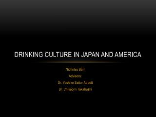 Drinking Culture in japan and America