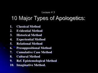 Lecture # 3 10 Major Types of Apologetics: