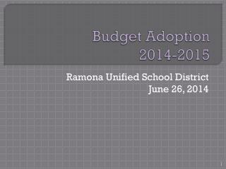 Budget Adoption 2014-2015