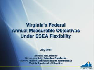 Virginia's Federal Annual Measurable Objectives Under ESEA Flexibility July  2013