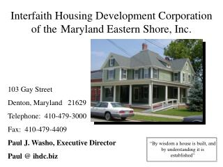 Interfaith Housing Development Corporation of the Maryland Eastern Shore, Inc.