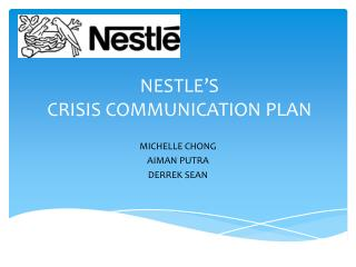 NESTLE'S  CRISIS COMMUNICATION PLAN