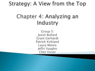 Strategy: A View from the Top Chapter 4 : Analyzing an Industry
