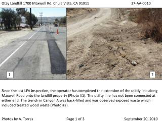 Otay Landfill 1700 Maxwell Rd. Chula Vista, CA 9191137-AA-0010