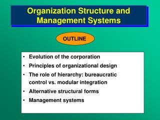 Organization Structure and Management Systems