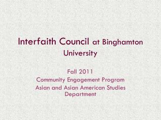 Interfaith Council  at Binghamton University