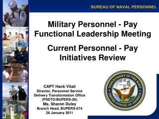 Military Personnel - Pay Functional Leadership Meeting Current Personnel - Pay  Initiatives Review