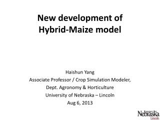 New  development  of  Hybrid-Maize model