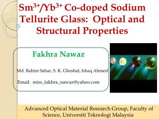 Sm 3+ /Yb 3+  Co-doped Sodium Tellurite Glass:  Optical and Structural Properties