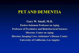 PET AND DEMENTIA