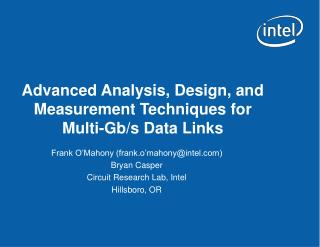 Advanced Analysis, Design, and Measurement Techniques for Multi-Gb/s Data Links