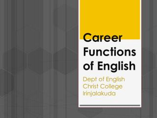 Career Functions of English