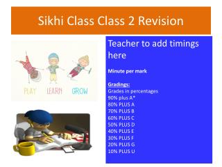 Sikhi Class Class 2 Revision