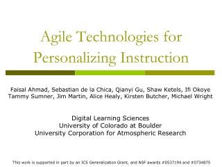 Agile Technologies for Personalizing Instruction