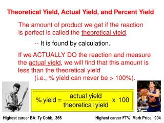 Theoretical Yield, Actual Yield, and Percent Yield