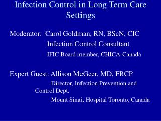 Infection Control in Long Term Care Settings