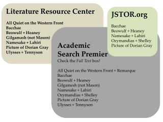 Literature Resource Center All Quiet on the Western Front Bacchae Beowulf  +  Heaney
