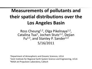 Measurements of pollutants and their spatial distributions over the Los Angeles Basin
