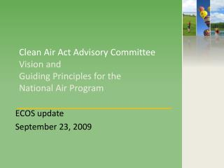 Clean Air Act Advisory Committee  Vision and  Guiding Principles for the  National Air Program