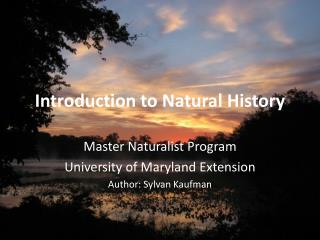 Introduction to Natural History