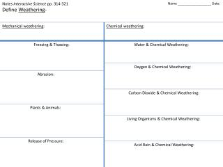 Notes  Interactive Science  pp. 314-321 Define  Weathering -