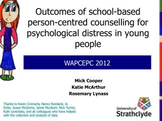 Outcomes of school-based person-centred counselling for psychological distress in young people
