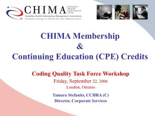 CHIMA Membership  &  Continuing Education (CPE) Credits