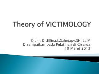 Theory of VICTIMOLOGY