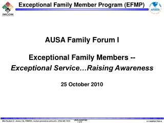 AUSA Family Forum I Exceptional Family Members --  Exceptional Service…Raising Awareness
