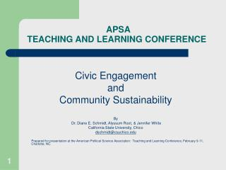 APSA  TEACHING AND LEARNING CONFERENCE