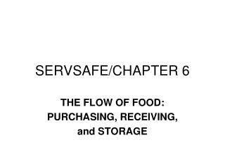 SERVSAFE/CHAPTER 6