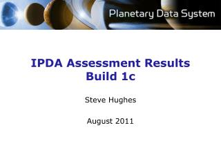 IPDA Assessment Results Build 1c