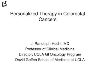 Personalized Therapy in Colorectal Cancers