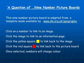 A Question of   Nine Number Picture Boards  This nine number picture board is adapted from  a template made available b