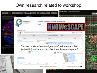 Own research related to workshop