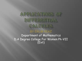Applications  OF DIFFERENTIAL  CALCULUS