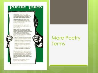 More Poetry Terms