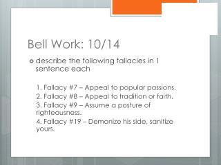 Bell Work: 10/14