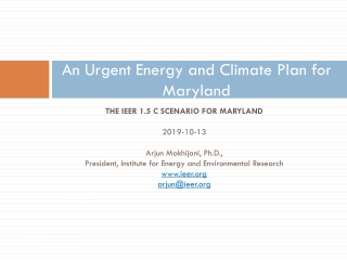 An Urgent Energy and Climate Plan for Maryland