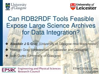 Can RDB2RDF Tools Feasible Expose Large Science Archives for Data Integration?