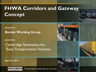 FHWA Corridors and Gateway Concept