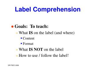 Label Comprehension