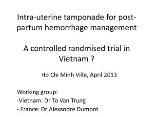 Ho Chi Minh Ville,  April  2013 Working  group : Vietnam: Dr To Van Trung