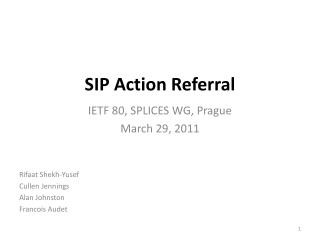 SIP Action Referral