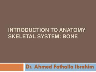 Introduction to anatomy skeletal system: bone